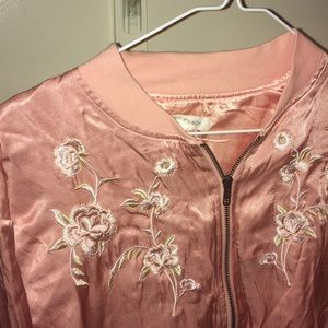 silky pink floral Honey Punch bomber jacket